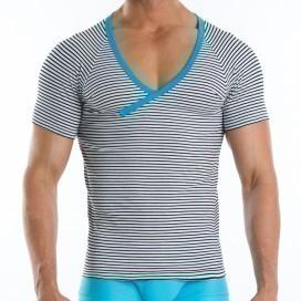 Modus Vivendi Narrow V-shirt Bleu