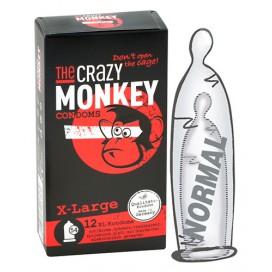 Crazy Monkey Condoms Préservatifs X-Large + Arôme Fraise x12