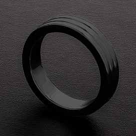 Triune Cockring Ribbed Noir 10mm