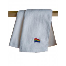 Pride Items Serviette Eponge Blanche Rainbow 30 x 112 cm
