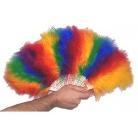 Pride Items Eventail Rainbow en Plumes
